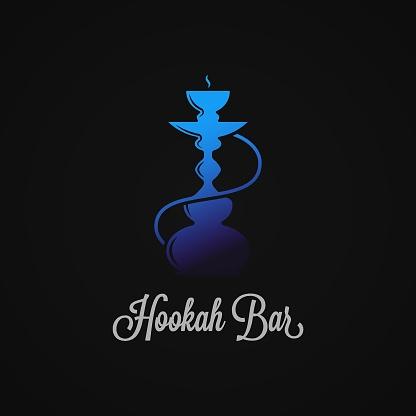 Hookah with blue hookah on black background