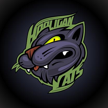 Hooligan cats animal design concept on dark background, sport infographic team pictogram