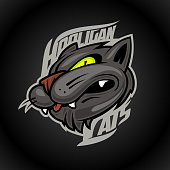 Hooligan cats vector logo design concept on dark background, sport infographic team pictogram, t-shirt tee print