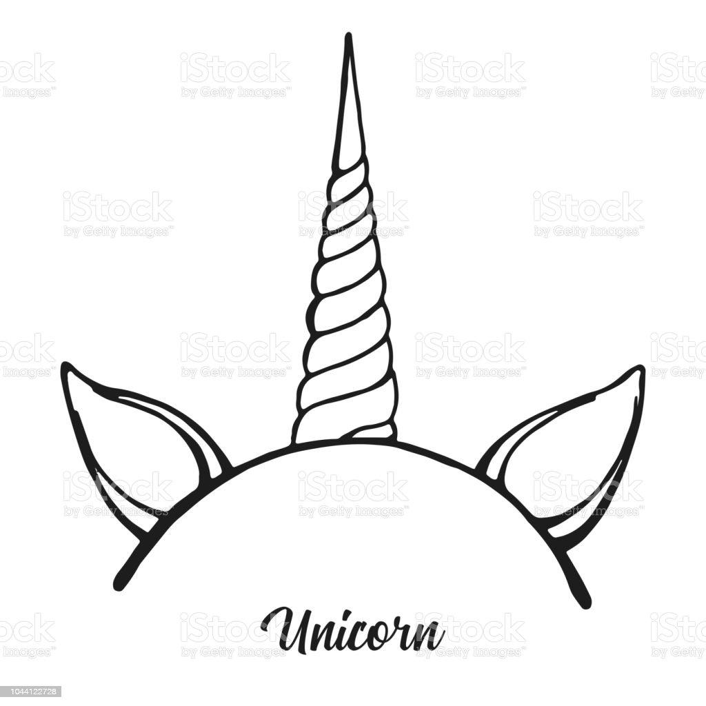 Ilustración De Aro Con El Cuerno Del Unicornio Vector Dibujo