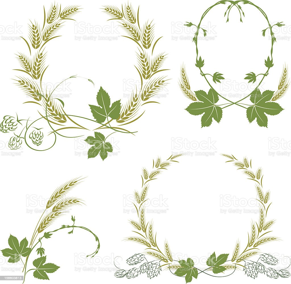 Hop and barley royalty-free hop and barley stock vector art & more images of agriculture