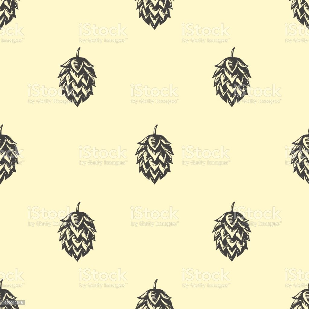 Hop beer seamless pattern background vector art illustration
