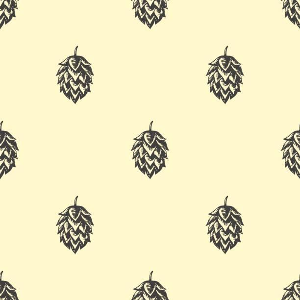 Hop beer seamless pattern background vector art illustration