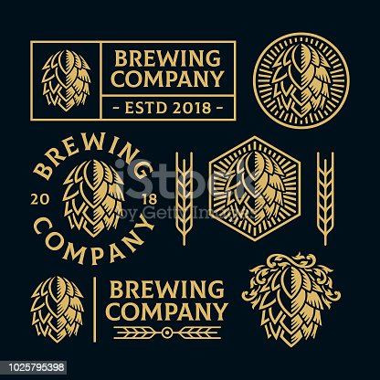 Hop cone Illustration logo. All text are curved. Suitable for graphic element and other design needs especially for brewery related. Non-Layered