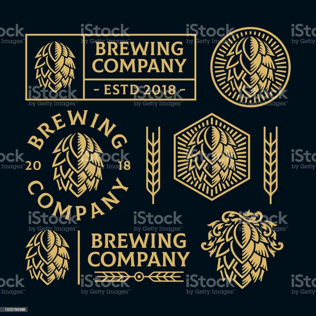 Houblon cône Logo ensembles - Illustration vectorielle