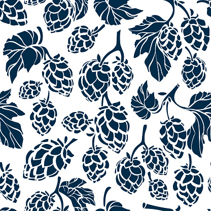Hop corn. Vector seamless pattern. Organic beer.