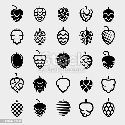 Collection hop set, edit size and color, vector