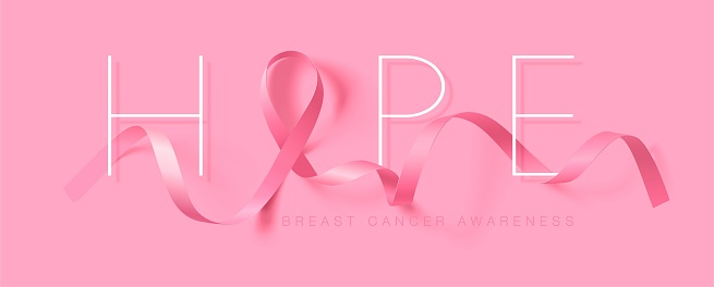 Hope. Breast Cancer Awareness Calligraphy Poster Design. Realistic Pink Ribbon. October is Cancer Awareness Month. Vector Illustration