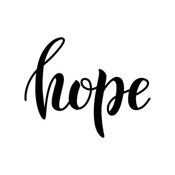 ilustraciones, imágenes clip art, dibujos animados e iconos de stock de icono de la letra de pincel hope aislado sobre fondo blanco. - esperanza