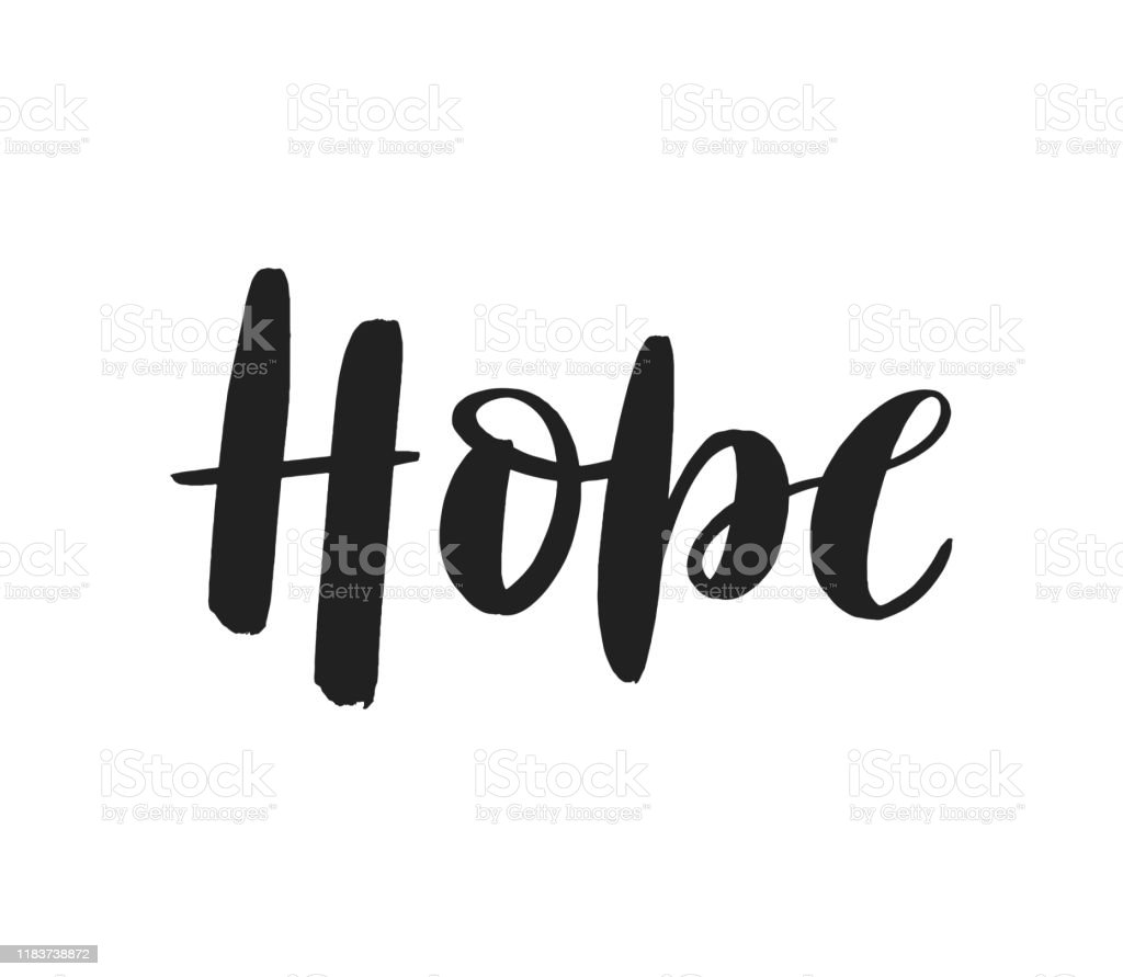 Hope brush lettering logo isolated on white background. - Grafika wektorowa royalty-free (Baner)