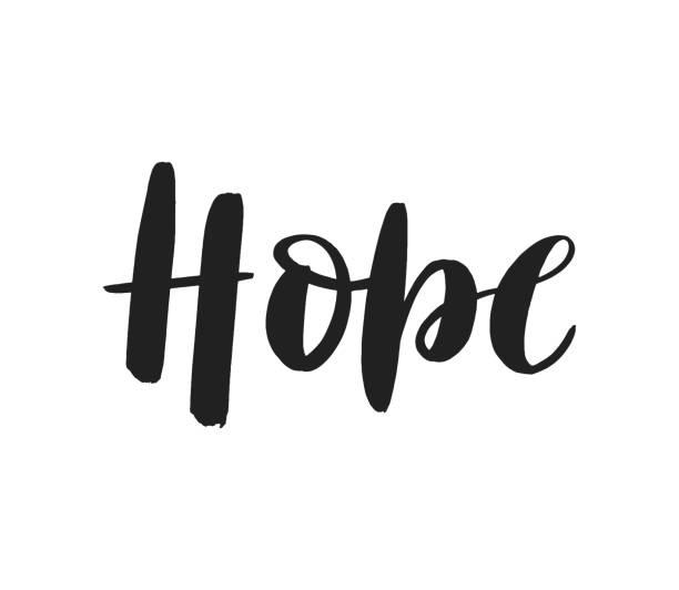 ilustraciones, imágenes clip art, dibujos animados e iconos de stock de logotipo de letras de pincel de esperanza aislado en fondo blanco. - esperanza