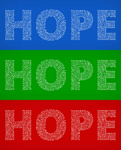 ilustrações de stock, clip art, desenhos animados e ícones de hope circuit board color vector backgrounds. - hope