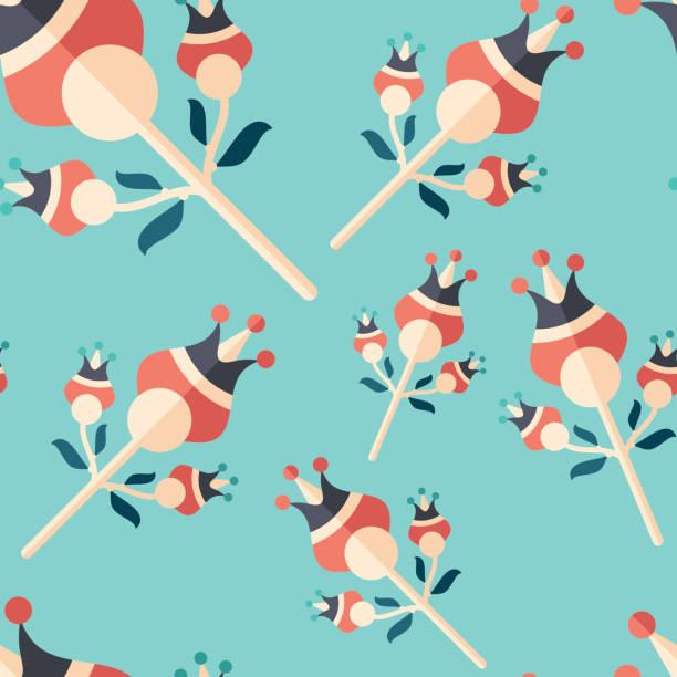 ilustrações de stock, clip art, desenhos animados e ícones de hope flowers flat icon seamless pattern. - hope