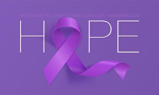 Hope. Hodgkin's Lymphoma Awareness Calligraphy Poster Design. Realistic Violet Ribbon. September is Cancer Awareness Month. Vector