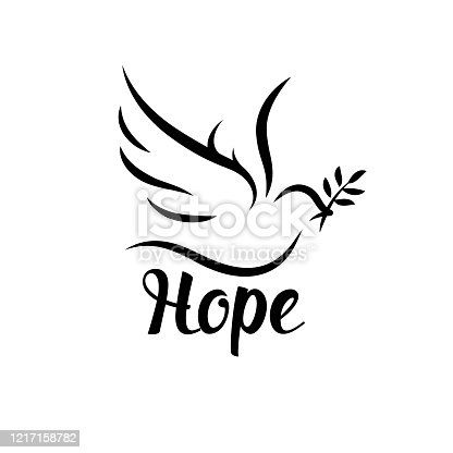 istock Hope icon with dove and olive leaf 1217158782