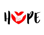 Hope lettering design with holding hands in red heart.