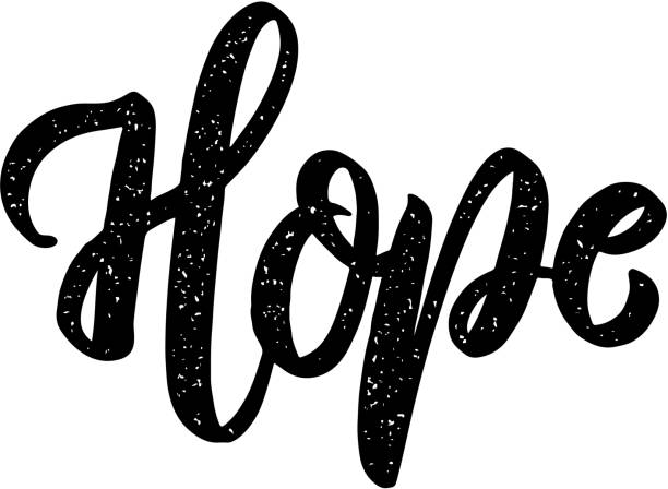 hope. lettering phrase on white background. design element for poster, card, banner, sign. - optimistic stock illustrations