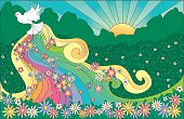 Sixties flashback of dove rising with the sun.