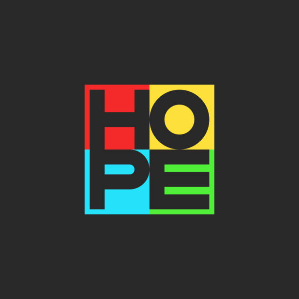 ilustraciones, imágenes clip art, dibujos animados e iconos de stock de espero la palabra letras multicolor motivacional positivo voluntario lema forma cuadrada del emblema impresión de camiseta - esperanza