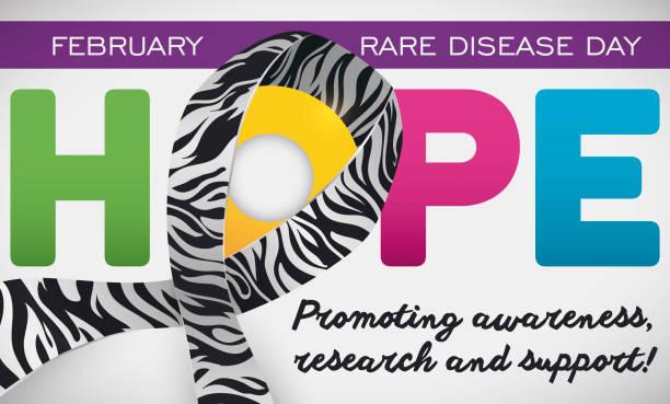 ilustrações de stock, clip art, desenhos animados e ícones de hope word, zebra ribbon and greetings for rare disease day - hope