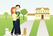 A vector illustration of a couple hoping they can add a baby to their happy family.  The woman holds a pregnancy test.  The house, couple, dog and cat are all grouped on separate layers from the background.