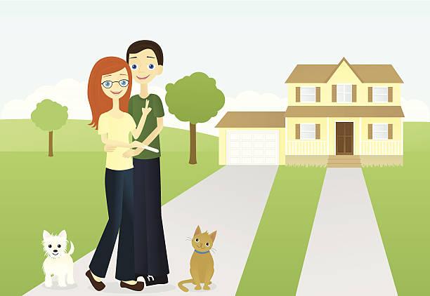 Hopeful Suburban Couple vector art illustration