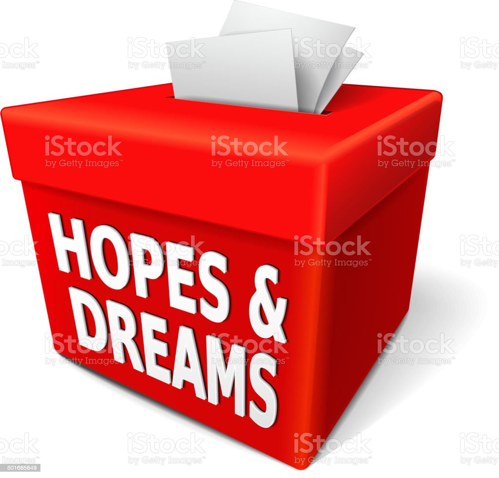 hopes and dreams words on the red box royalty-free stock vector art