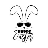 Hoppy Easter- funny text with bunny and sunglasses.