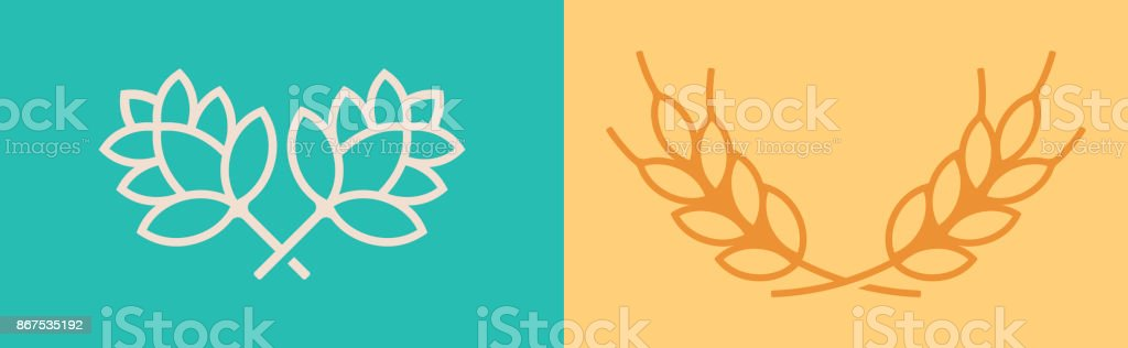 Hops and Wheat Symbols vector art illustration