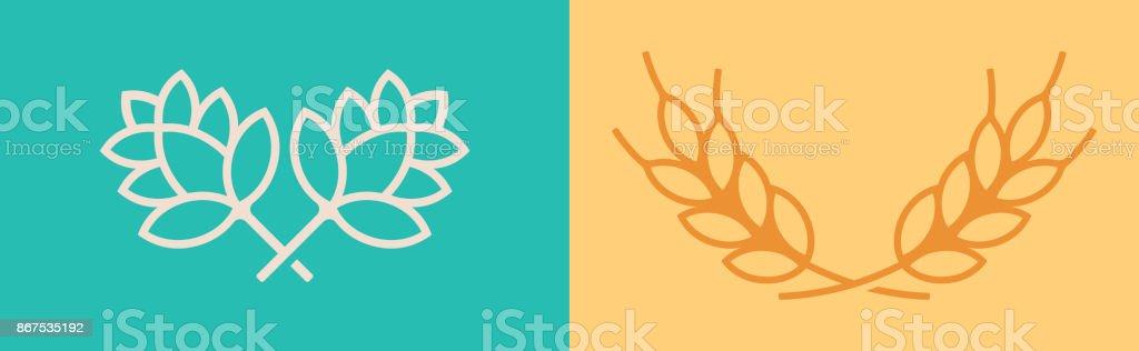 Hops and Wheat Symbols vector art illustration