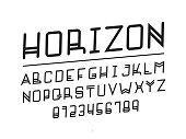 Horizon font. Vector alphabet