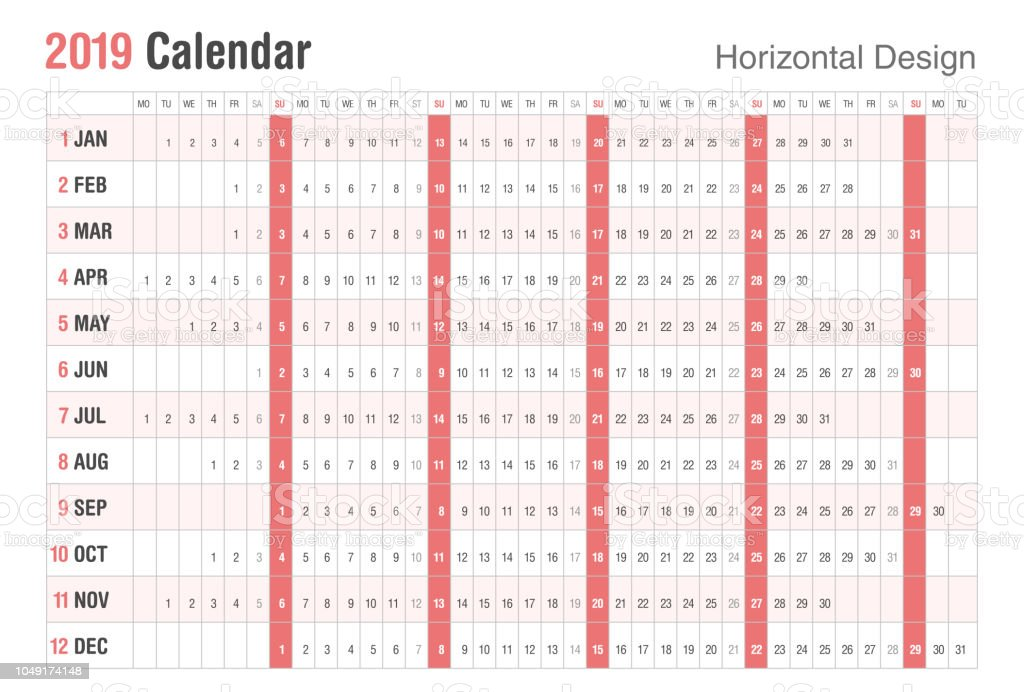 Calendario Fin De Semana 2019.Ilustracion De Diseno Horizontal 2019 Calendario Estilo