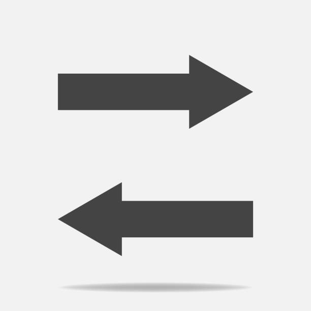 illustrazioni stock, clip art, cartoni animati e icone di tendenza di horizontal arrows vector icon. exchange symbol and horizontal reflectionlayers grouped for easy editing illustration. for your design. - mancino