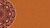 Horizontal background with brown mandala