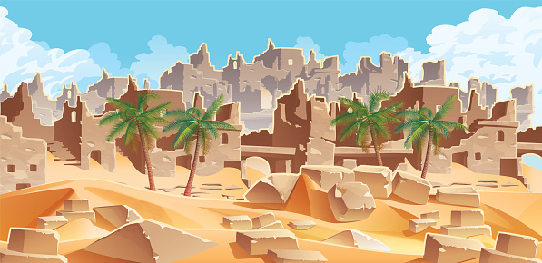 Horizontal background with desert and palms. City ruins on the horizon