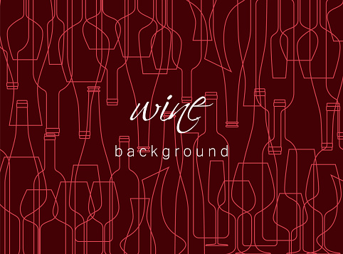 Horizontal background with wine bottles and glasses. Design element for tasting, menu, wine list, restaurant, winery, shop. Texture in modern line style.