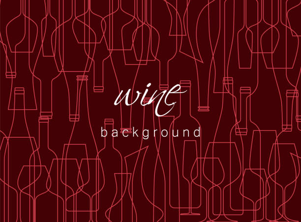 Horizontal background with wine bottles and glasses. Design element for tasting, menu, wine list, restaurant, winery, shop. Texture in modern line style. Horizontal background with wine bottles and glasses. Design element for tasting, menu, wine list, restaurant, winery, shop. Texture in modern line style. wine stock illustrations