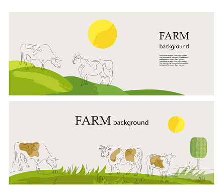 Horizontal backgrounds. Cows in the pasture. Cows are drawn in one line. Set of backgrounds.