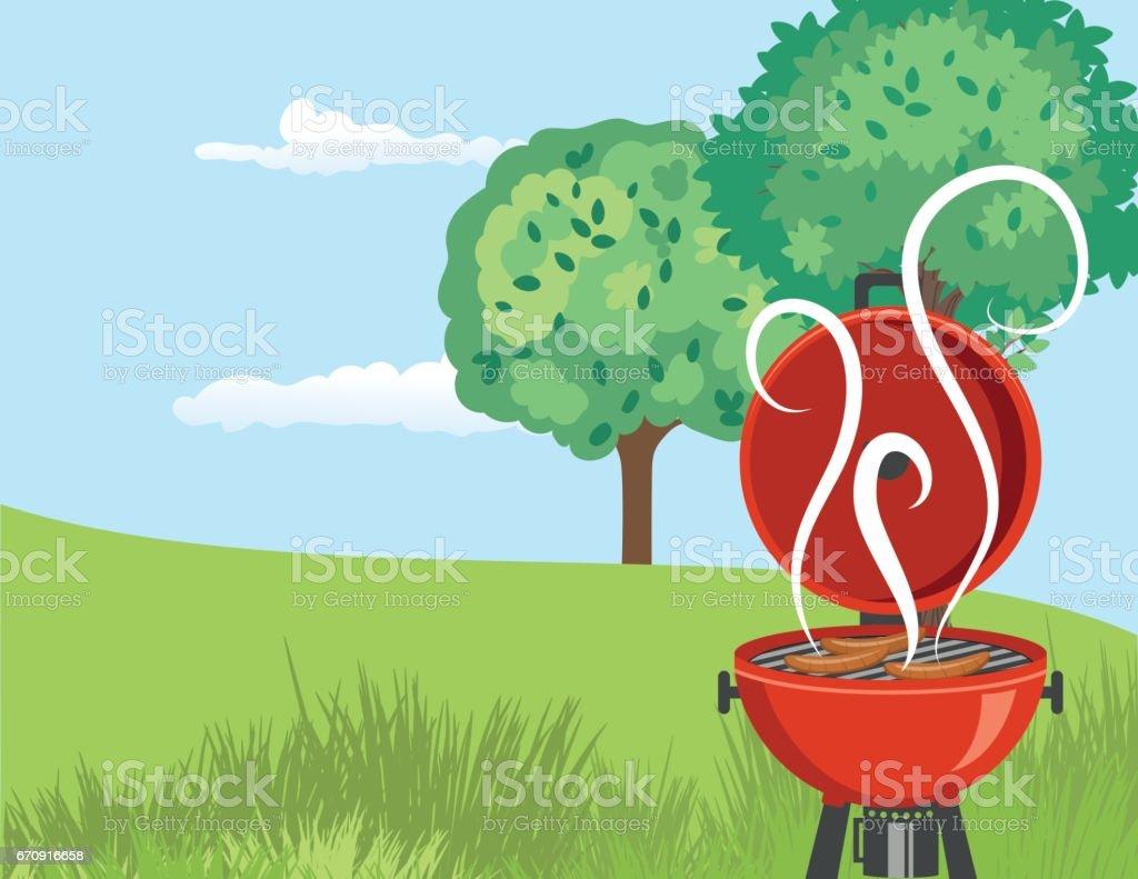 horizontal backyard bbq background stock vector art 670916658 istock