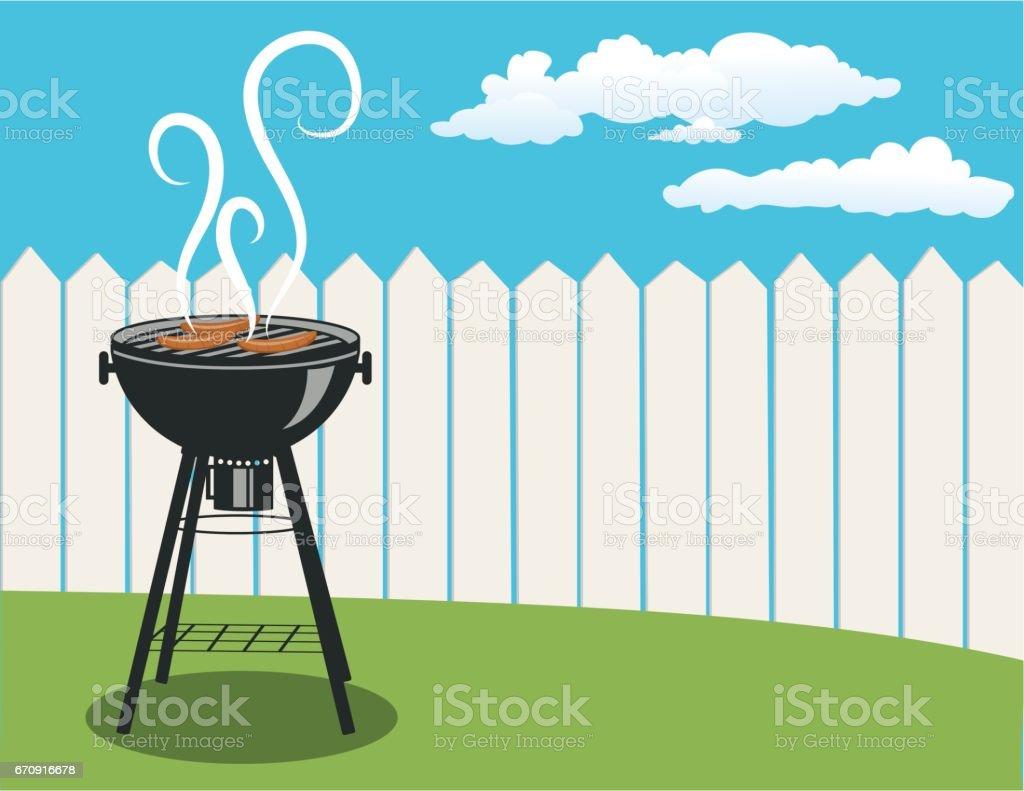Horizontal Backyard BBQ Background vector art illustration