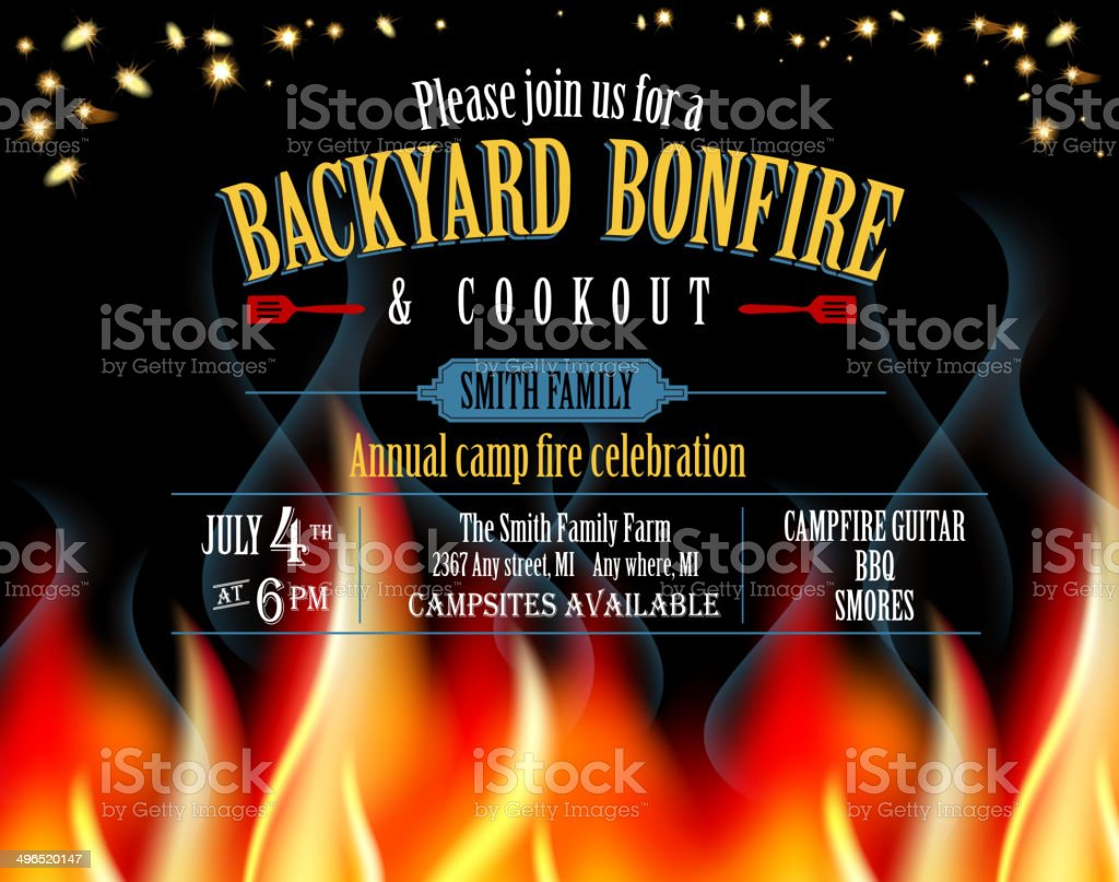 Horizontal Backyard Bonfire and cookout invitation design template vector art illustration