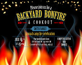 Horizontal Backyard Bonfire and cookout invitation design template