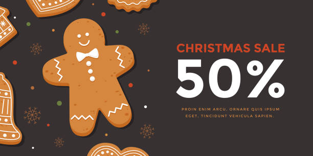 ilustraciones, imágenes clip art, dibujos animados e iconos de stock de venta de navidad banner horizontal con hombre de jengibre. - gingerbread man