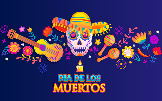 Horizontal banner for Day of the dead.
