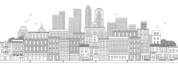 大都会の水平旗 - 都市 モノクロ点のイラスト素材/クリップアート素材/マンガ素材/アイコン素材