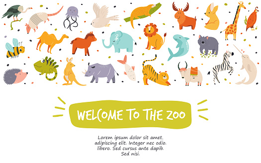Horizontal banner, poster with variety of wild animals. Welcome to the Zoo. Vector illustration.