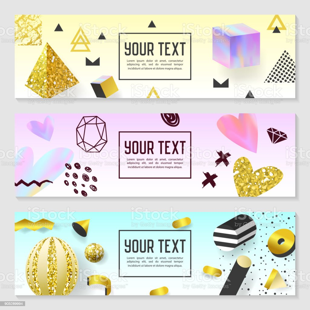 Horizontal banner set with gold glitter elements poster invitation horizontal banner set with gold glitter elements poster invitation voucher templates abstract cards design stopboris Image collections