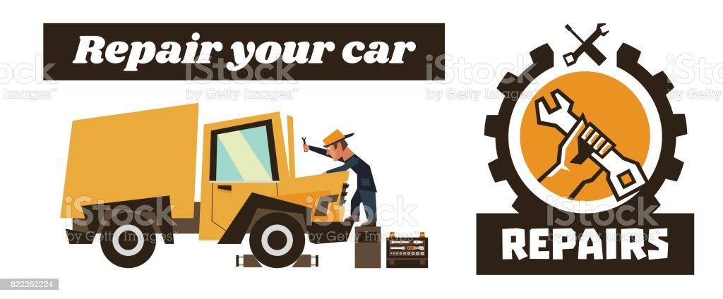 車の修理で水平バナー テンプレート。アイコンを修復、レンチを持っている手します。技術者オレンジ リコンディショニング トラック。ベクトルの図。フラット スタイル ベクターアートイラスト