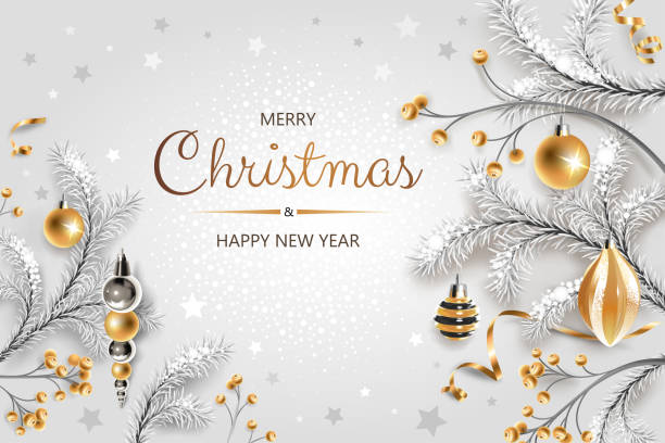 Horizontal banner with gold and silver Christmas symbols and text. Christmas tree, gift, decoration and other festive elements on white background. vector art illustration