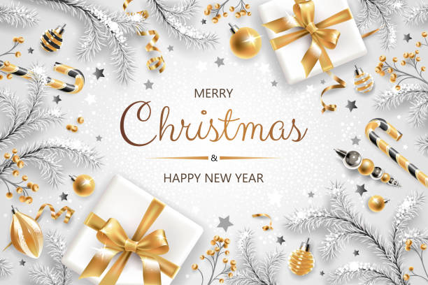horizontal banner with gold and silver christmas symbols and text. christmas tree, gifts, decoration and other festive elements on white background. - christmas background stock illustrations